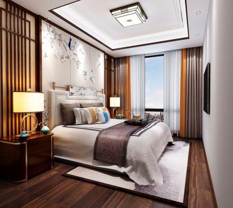 卧室白色背景墙新中式风格装饰设计图片