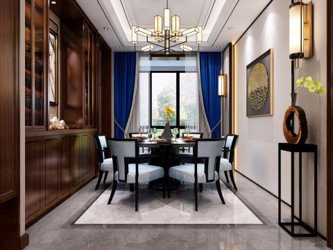 2019新中式餐厅效果图 2019新中式窗帘装修效果图片