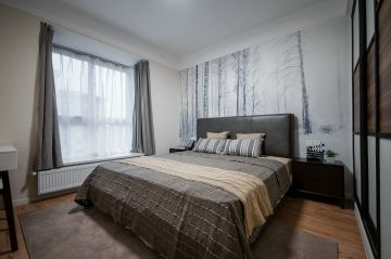 卧室灰色床现代简约风格装饰图片