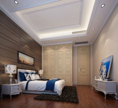 欧式卧室背景墙装潢图
