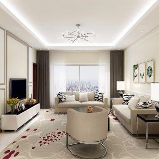 95平现代简约风格两居室装修效果图