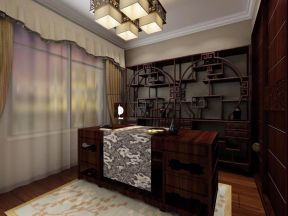 设计优雅红色书房设计图欣赏