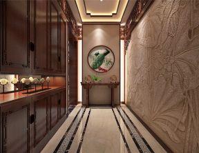 玄关背景墙中式装潢设计图片