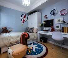 现代蓝色儿童房设计效果图