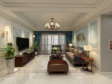 148平美式风格三居室装修效果图