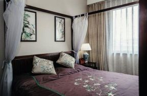 卧室背景墙新中式装修案例图片