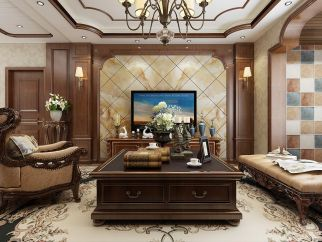 2019美式客厅装修设计 2019美式茶几设计图片