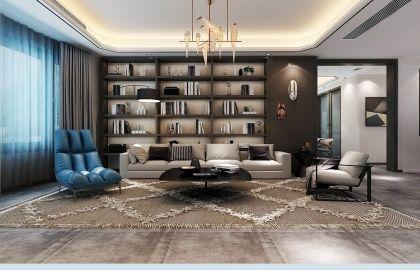 2018现代简约客厅装修设计 2018现代简约书架装修图