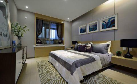 沉稳卧室现代简约装潢效果图