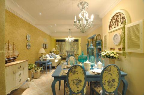 典雅蓝色餐厅餐边柜构造图