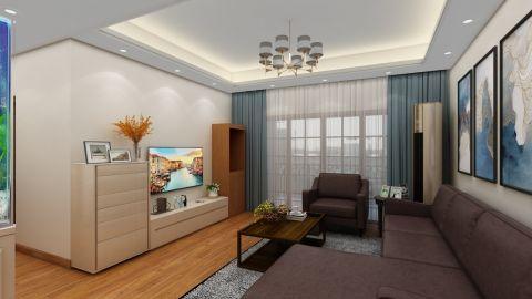 质朴蓝色客厅储物柜装修实景图片