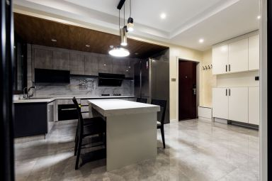 现代开放式厨房橱柜装潢实景图片