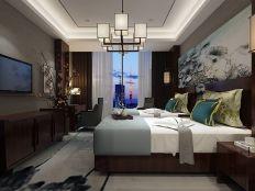 卧室床新中式效果图图片