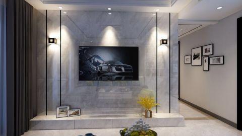 创意现代简约冷色系背景墙家装设计图