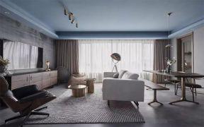 客厅冷色系地砖装饰设计图片