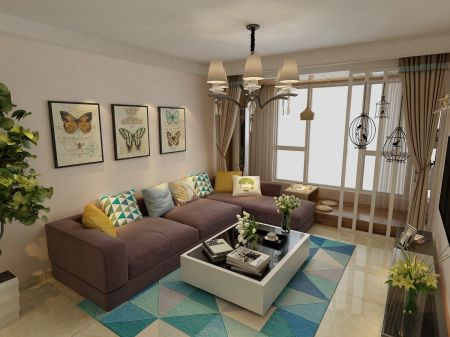 客厅暖色系沙发装饰实景图