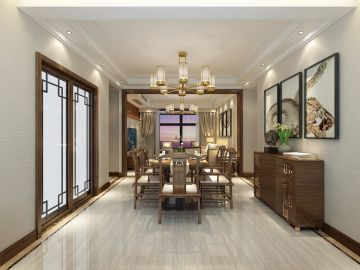 2019新中式餐厅效果图 2019新中式餐桌装修效果图片