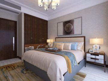 2019新中式卧室装修设计图片 2019新中式床装修效果图片