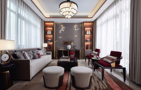 富丽新中式棕色餐桌装饰设计
