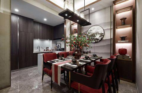 新中式餐厅背景墙装修效果图欣赏