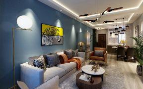 万达星光岛90平轻奢风格二居室效果图