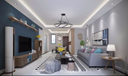 现代简约90平米两房一厅u乐娱乐平台设计