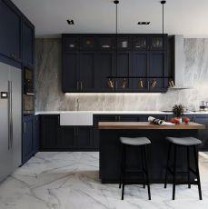 厨房黑白灰餐桌装潢图片