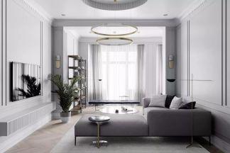 2019简约客厅装修设计 2019简约窗帘装修效果图片