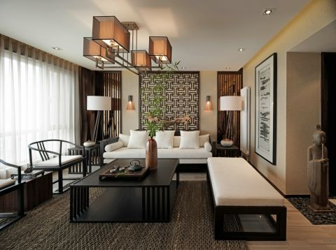 128平新中式风格4室2厅效果图