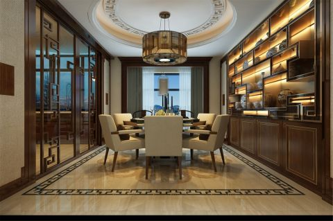 星河湾185平新中式风四居室餐厅u乐娱乐平台优乐娱乐官网欢迎您