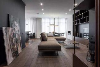 暗黑色住宅现代风格110平套房客厅装修效果图