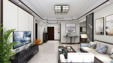 天一赫廷107平新中式风格3房客厅装修效果图