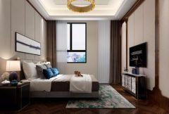 新中式卧室墙面窗帘装修效果图欣赏
