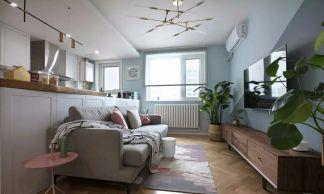 65平米小两室北欧风格效果图