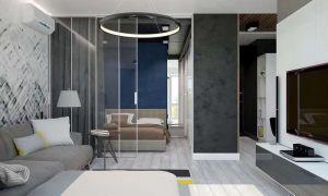 72平现代简约小户型客厅效果图