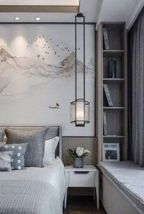 2019新中式卧室装修设计图片 2019新中式床头柜装修设计图片