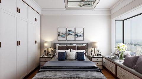 新中式卧室墙面床装潢实景图