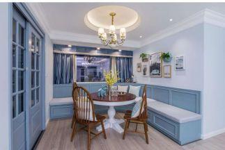 美好淡蓝色餐桌装潢图