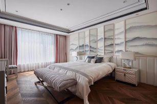 新中式卧室背景墙装饰图片