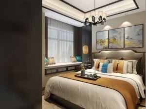 前海时代91平中式U乐国际小户型卧室案例欣赏