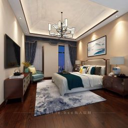 碧桂园130平新中式风格三居室卧室效果图