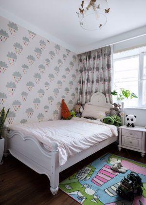 唯美儿童房床装潢效果图