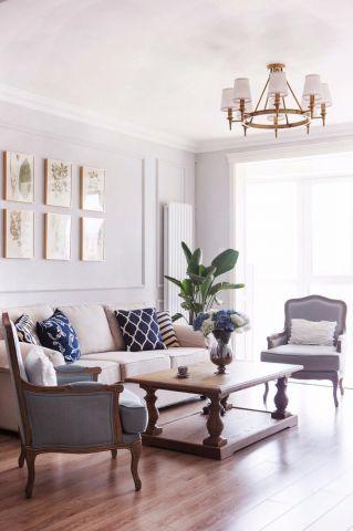 客厅灯具法式装潢实景图