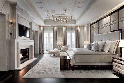 140平轻奢风大户型卧室效果图