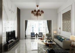 豪华暖色系沙发装潢效果图
