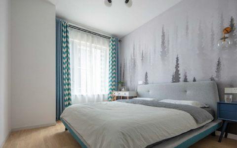 卧室地板北欧装饰实景图