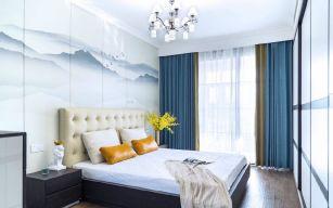 新中式卧室床装饰实景图片