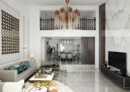 客厅吊顶美式装修图片