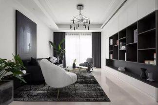 128平米現代主義3室2廳輕奢氣質設計效果圖