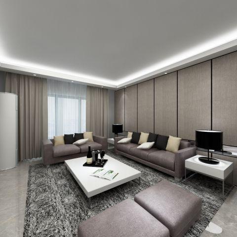 四室两厅200平米现代风灰色调客厅设计效果图
